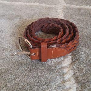 Vintage Brown Braided Leather Belt